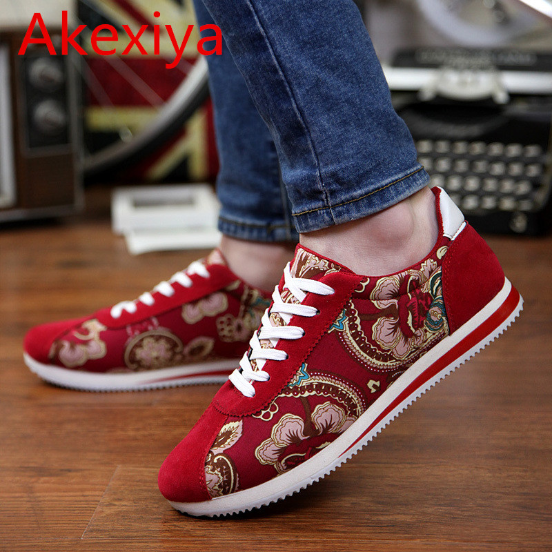 Akexiya 2017 Man Casual Shoes Floral Canvas Wedges Couples Ladies Flower Platform Unique Big Size New Zapatillas Mujer