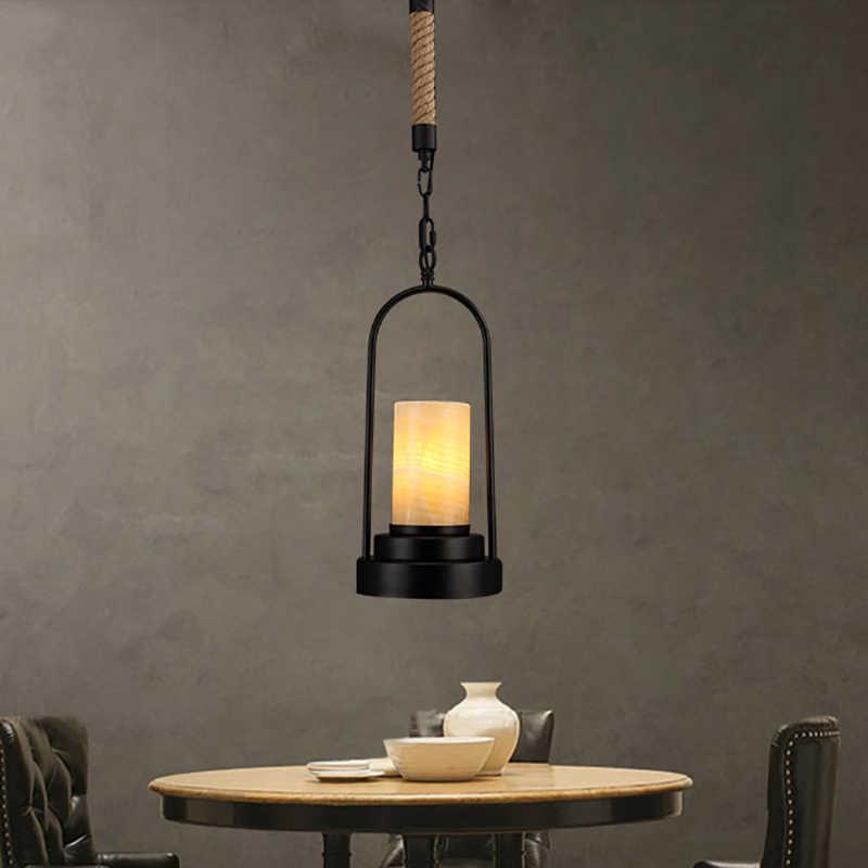 Кантри Лофт ретро-железо промышленной эры мрамор абажур пеньковая веревка веревочный подвесной светильник E27 подвесные светильники в простом стиле для гостиной, спальни,