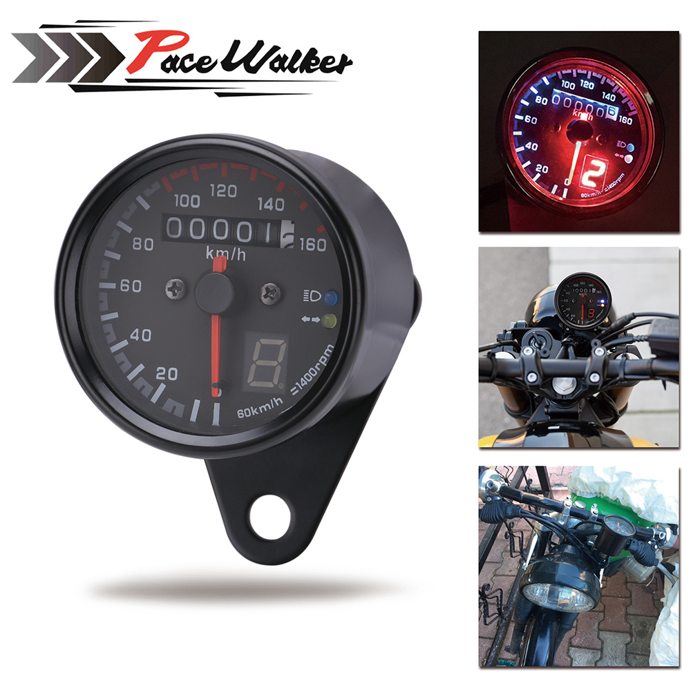 Free Shipping Universal Motorcycle Cafe Racer Speedometer Odometer Gauge 0-160 Km/u Instrument With Led Indicator Buy Now