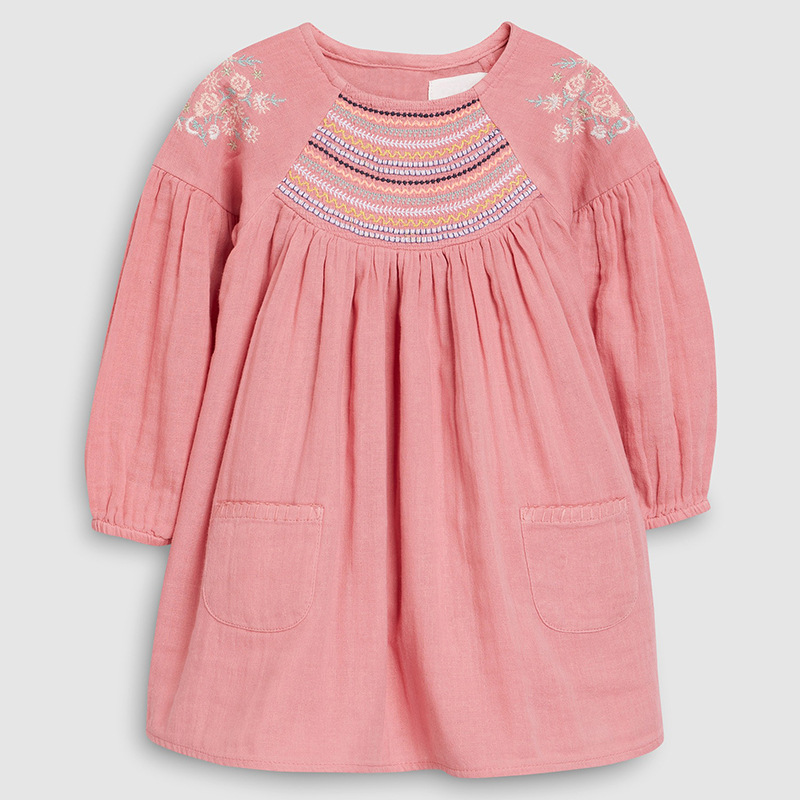 Little Maven 2-7Years 2019 Autumn Bay Girls Child Toddler Flower Embroidery Pocket Dress Children Kids Tops Tees Fall Clothing
