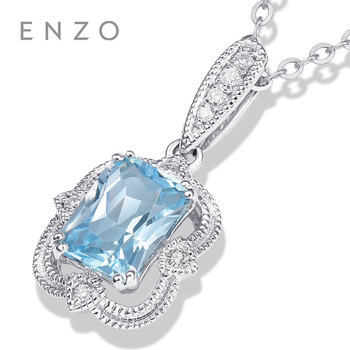 Precious Collections Blue Topaz/Diamond Pendant 18K White Gold Natural Gemstone Fancy Design For Woman's pendants Necklace