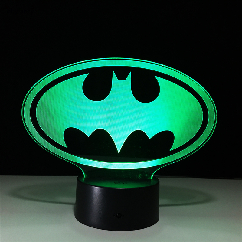 Tobyfancy Batman Figure 3D Led Table Lamp Flash Bat-Man Effect Colorful Acrylic Visual Illusion Remote Control USB LED Lights