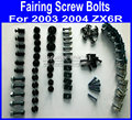 Full set Motorcycle Fairing common screws bolt for KAWASAKI 2003 2004 ZX6R 03 04 ZX 6R aftermarket black fairings bolts scre