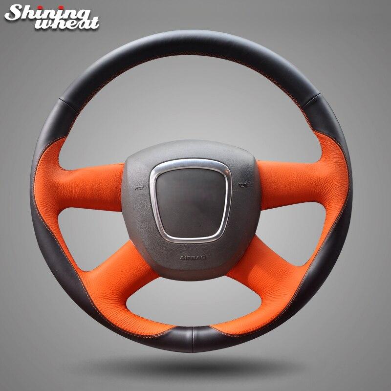 Couvre-volant en cuir noir Orange brillant pour Audi Old A4 B7 B8 A6 C6 2004-2011 Q5 2008-2012 Q7 2005-2011