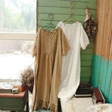 Винтажное открытое свободное кружевное лоскутное платье с круглым вырезом большого размера плюс хлопок лето