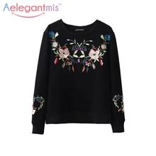 Aelegantmis, осенняя мода, этническая Цветочная вышивка, Толстовка для женщин, длинный рукав, шерстяная подкладка, теплые женские пуловеры, Осенние Топы