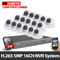 H.265 16CH 5MP POE NVR Kit 16 5.0MP 2592X1944 In/Outdoor Dome IP66 Security IP Camera P2P View Video Surveillance System
