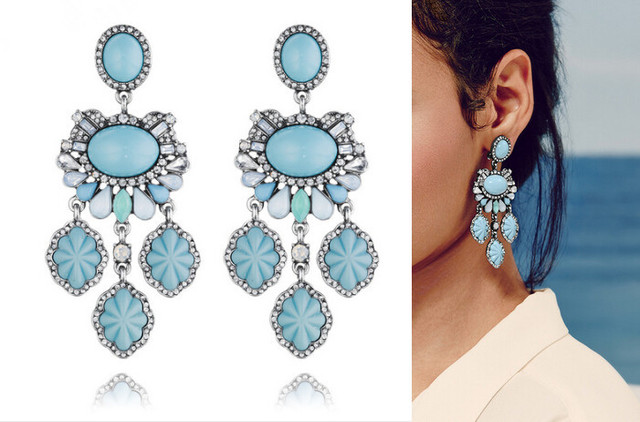 Jc100 Classic Sside Collage Statement Earrings For Women Turquoise Resin Chandelier Clip Boutique Jewelry