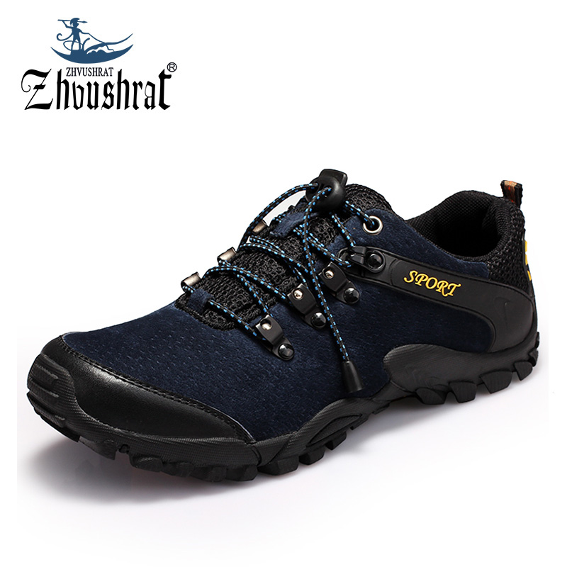 Men's Sneakers Outdoor Mountain Hiking Shoes Trekking Boots Man 2017 Brand Waterproof Leather Climbing Shoes Male Sports Shoes 2016 man women s brand hiking shoes climbing outdoor waterproof river trekking shoes