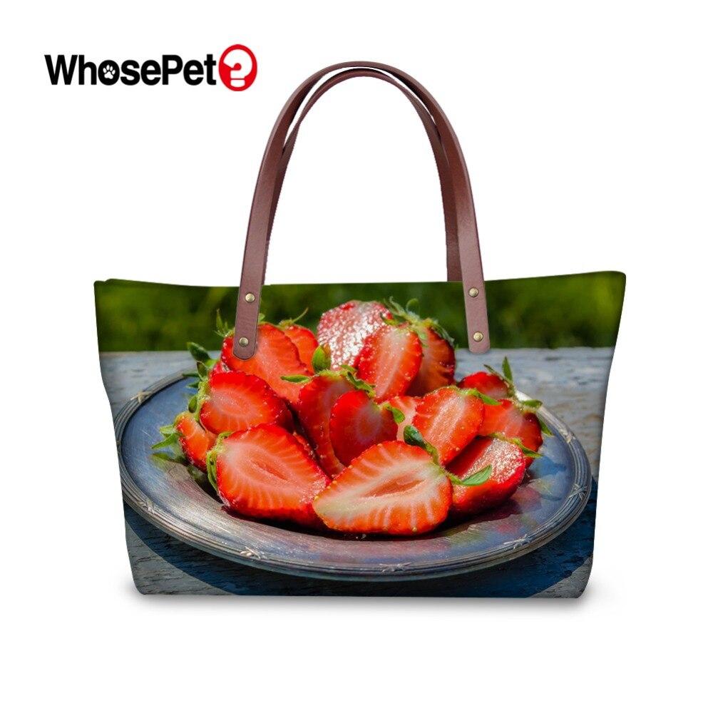 ba1e170bd204 WHOSEPET свежий принт с фруктами узор Сумки Для женщин сумка-шоппер Женская  мода Топ-ручка сумки на плечо для девочек щедрый сумки