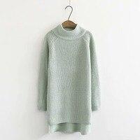 Plus size drop shoulder sleeve turtleneck women Knitted pullover 2018 black & Mint color winter ladies sweater wool female
