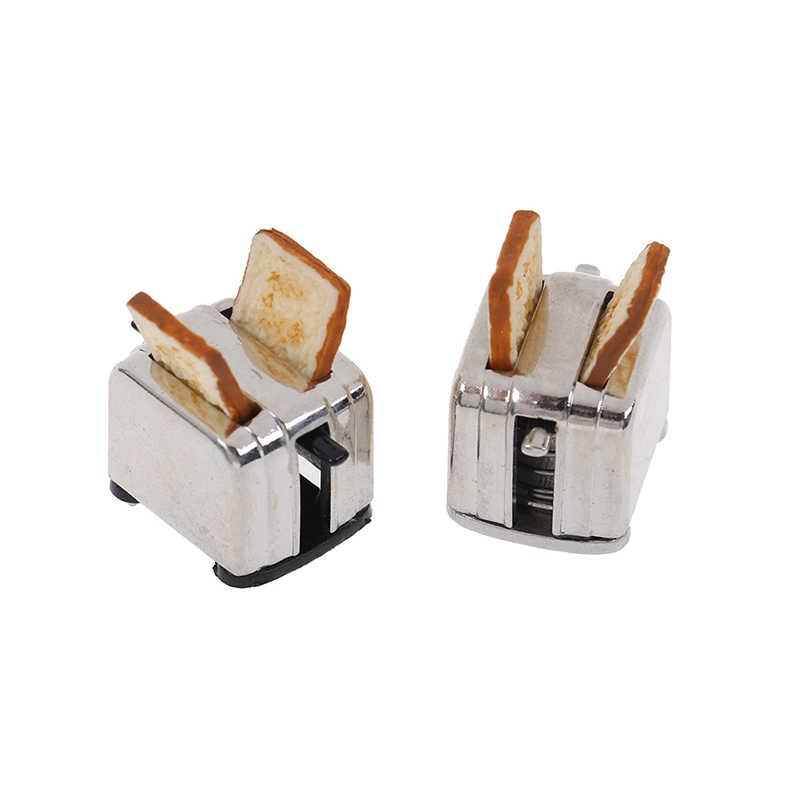 Nette Dekoration Neue Puppe Haus Mini Brot Maschine Toaster 1/12 Skala Mit Toast Miniatur Puppenhaus Zubehör