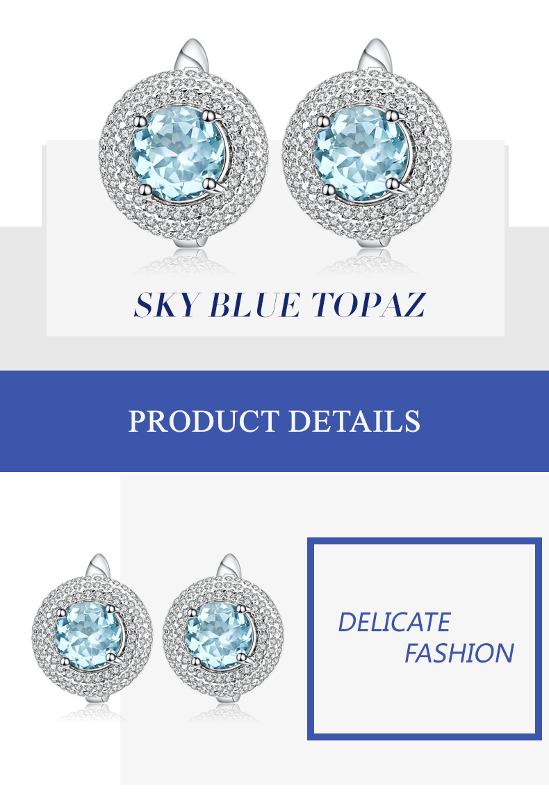 Gems Ballet 5.15ct Natural Sky Blue Topaz Gemstone Stud Earrings 925 Sterling Silver Fine Jewelry For Women Drop Shipping High Quality Materials Earrings