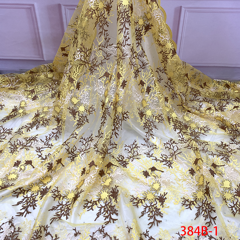 2019 Latest Nigerian Lace Fabrics High Quality African Tulle Lace Fabric Embroidered Net With Stones Beads For Wedding KS384B-1