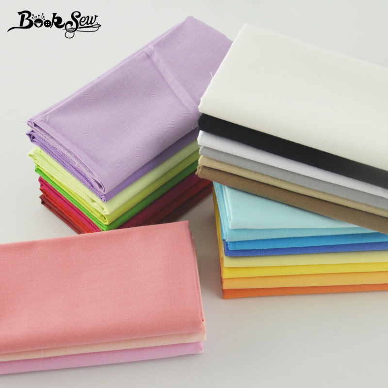 Booksew Cotton Fabrics Home Textile 25 Solid Colors Pack Crafts Bedding Set Quilting Clothing Sewing Fat Quarter Meter Patchwork