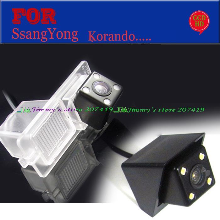 wire wireless 4 <font><b>leds</b></font> HD CCD waterproof car rear reversing camera for SsangYong <font><b>Kyron</b></font> Rexton II new Actyon Korando parking assist
