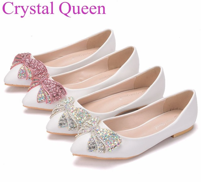 Crystal Queen Fashion Flats Women Wedding Shoes Flat Heel Pointed Toe Rhinestone Sweet White