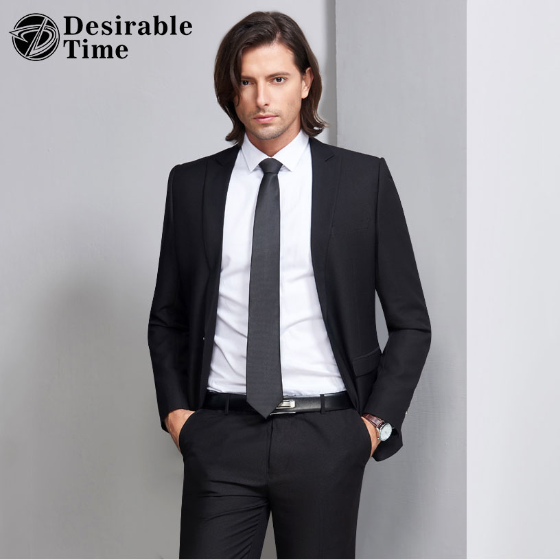 Desirable Time Slim Fit Black Suit Men Tuxedos S-3XL Costume Homme Wedding Business Suits for Men Jacket+Pants DT240