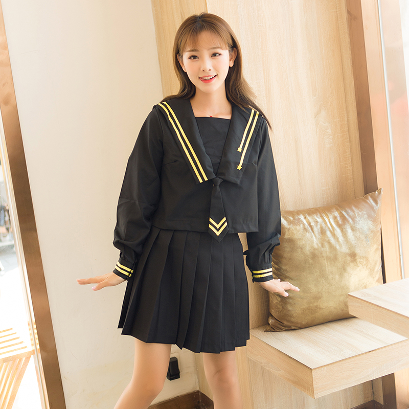 Japanese Sweet Meteor Embroidery Navy Style Sailor Suit Long-sleeved Jk Uniform Student Pleated Skirt Female Spring Summer Suit