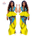 Traditional African Clothing for Women Dress Suit 2 Piece Set Clothing with Long African Print Skirts Maxi Dress 6XL BRW WY1132