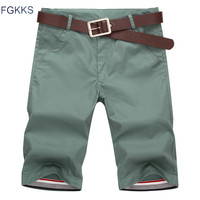 FGKKS 2017 New Summer Fashion Mens Shorts Casual Cotton Slim Bermuda Masculina Beach Shorts Joggers Trousers