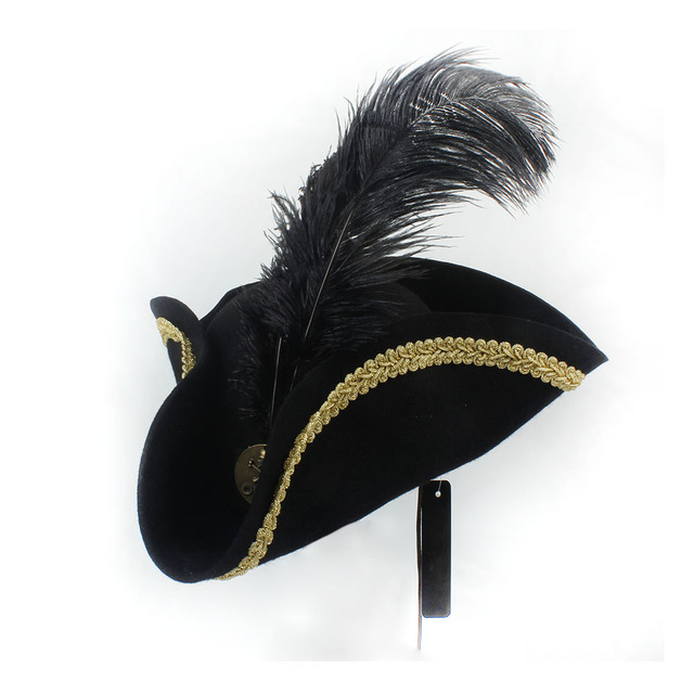 Feather Pirate Hat Women Men Cosplay Royal Court Top Hats Caps Dress Up  Props Masquerade Party Halloween Christmas Size 56-58CM 78e267bc2674