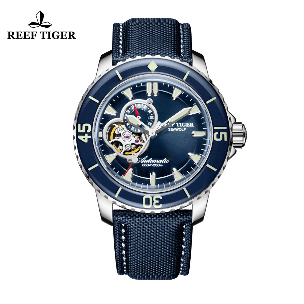 Reef Tiger/RT Sport Watches for Men Luminous Automatic Luminous Blue Dial Watches Nylon Strap RGA3039