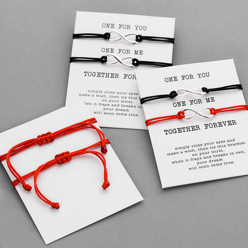 Pipitree 2 шт./компл. Вместе навсегда любовь, бесконечность, браслет для любителей Красная Нить пара Браслеты Для женщин Для мужчин пожелание, ювелирное изделие, подарок