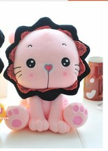 middle size cute plush lion toy lovely pink sunflower lion toy creative lion doll gift doll about 35cm
