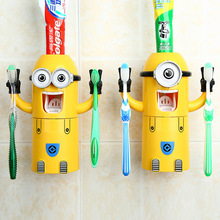 2016 Automatic Toothpaste dispenser creative cartoon cute little yellow man toothbrush holder suit bathroom supplies