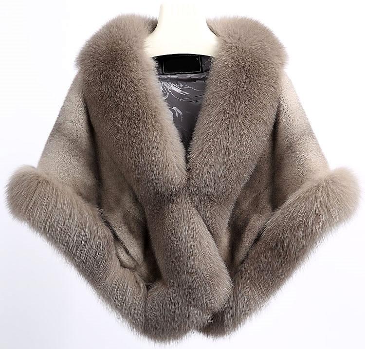 real mink fur cape large V-neck full pelt genuine mink fur Large natural Fox fur trim Women winter warm black red  fur stoleV213