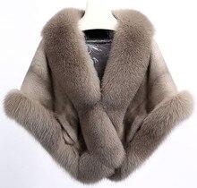 real mink fur cape large V-neck full pelt genuine Large natural Fox trim Women winter warm black red  stoleV213