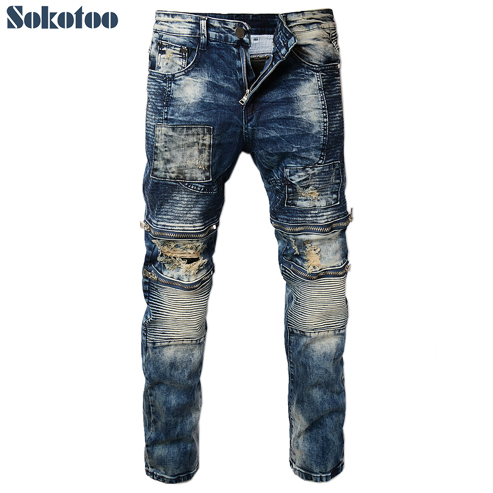 Sokotoo Men's vintage pleated holes ripped biker jeans for motorcycle Patch zipper distressed washed denim pants free shipping 1pcs motorcycle biker distressed pants denim trousers protection pads
