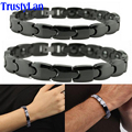 TrustyLan Fashion Couples Jewelry Shiny Black Ceramic Bracelet For Men Women Health Magnetic Hologram Bracelets Balance Bands