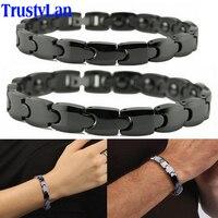Hot Sales Fashion Couples Jewelry Shiny Black Ceramic Bracelet For Men Women Health Magnetic Hologram Bracelets