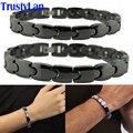Trustylan casais moda jóias preto brilhante pulseira de cerâmica para os homens as mulheres saúde magnética pulseiras holograma bandas equilíbrio