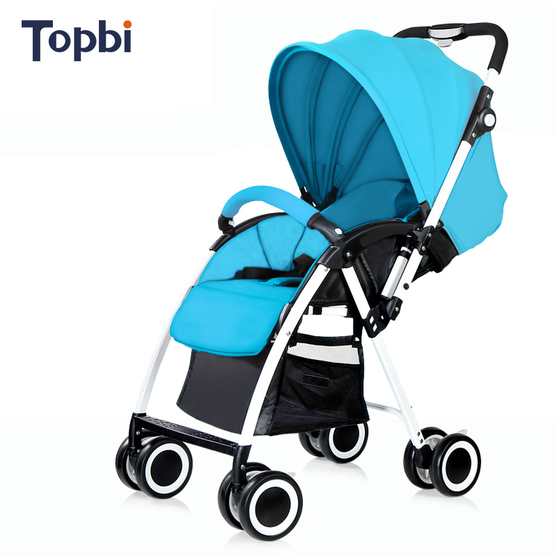 Topbi high landscape baby stroller can sit lying ultra portable folding umbrella car White frame baby stroller 4 colors
