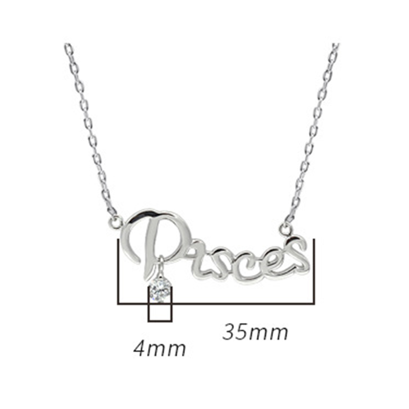 Fashion Necklaces 2019 12 Constellations Letter 925 Sterling Silver Zircon Pendant Chocker Necklace Individual Woman Accesories