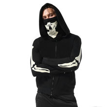 Hoodies Men 2018 Brand Mens Mask Skull Pure Color Pullover Long Sleeve Hooded Sweatshirt Tops Blouse New 2018(China)