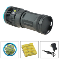 OEM 7T6 10000 Lumen Tatical Led Flashlight Torch 7xCree XM L T6 Led Rechargeable Lamp With LCD Display + 18650 Battery + Charger