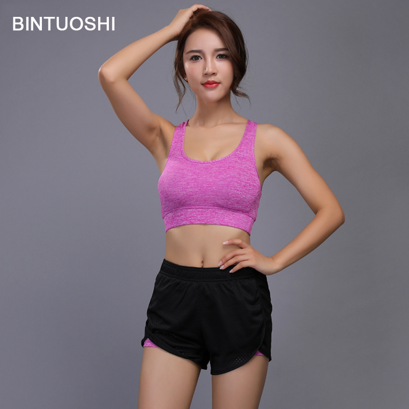 d566423a654c4 BINTUOSHI Yoga Set Women Sports Bra + 2 In 1 Running Shorts Breathable Gym  Workout Clothes Fitness Jogging Sport Suit Quick Dry