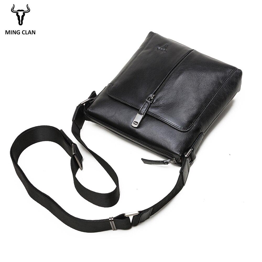 Koeienhuid Lederen Schoudertas Luxe Cross Body Bags Veelzijdige Lederen Tas Mannen Zakelijke Zwarte Messenger Bag Mannen Lederen - 2