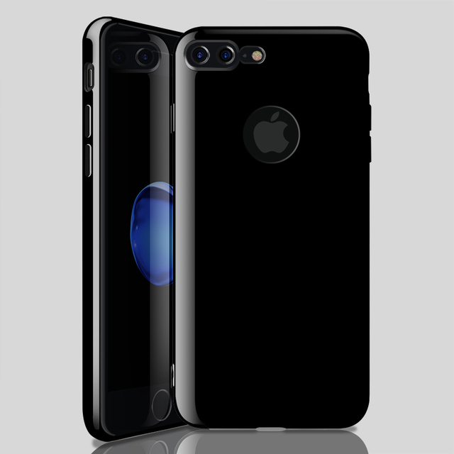 on sale 2e8e3 c0826 for iphone 7 8 plus Case Silicon Thin TPU Soft Phone Case for Apple iphone  8 plus Logo Hole Back Cover Rubber Bright Jet Black