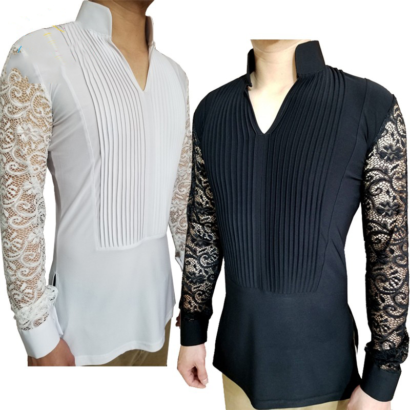 Ballroom Latin Dance Shirts Male Black Long Sleeve V Collar Shirt Men Samba Rumba Cha Cha