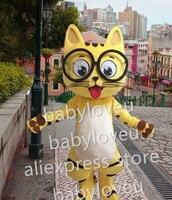 באיכות גבוהה הרשות fursuit קמע חתול צהוב חתול קמע תלבושות קרנבל פנסי dress גודל למבוגרים