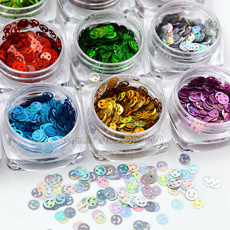 12 Colors High Quality AB Glitter 4MM Smilel Face Shape Nail Art Sequins Slice Stickers Decals DIY Beauty Salon Tip 3d 12 candy colors glass fragments shape nail art sequins decals diy beauty salon tip free shipping