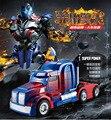 El mejor regalo de cumpleaños de Una clave deformación anfibio rc coche eléctrico Autobot Optimus Prime robot para niños con mando a distancia