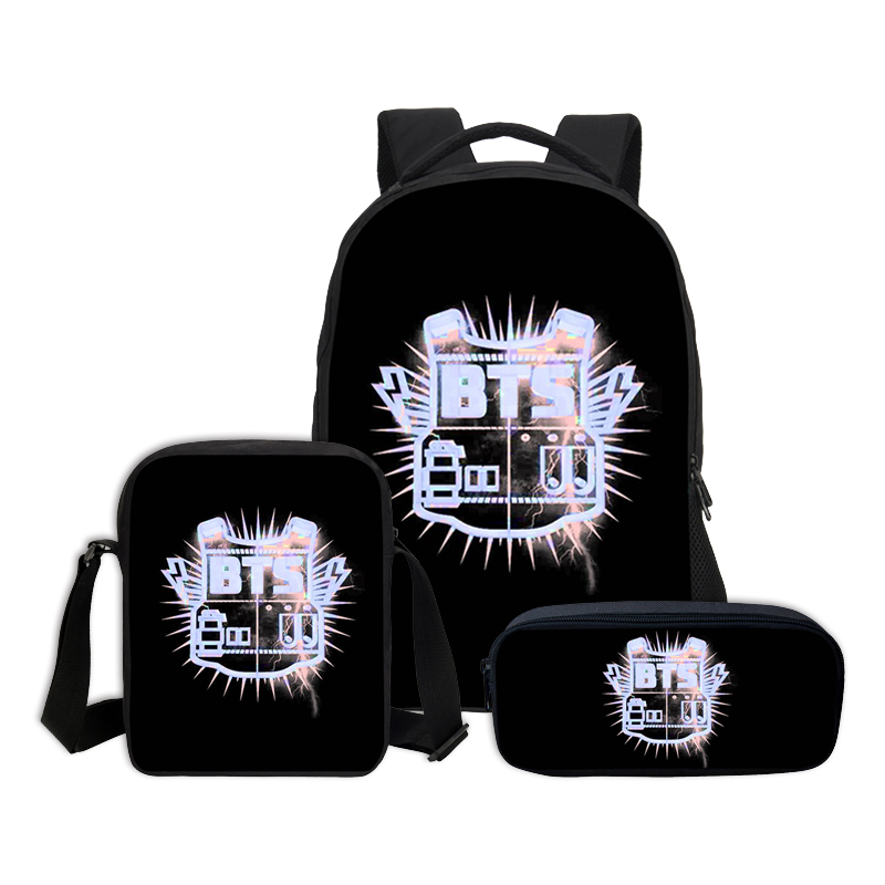 3 PCS/SET VEEVANV BTS Letter Printing Backpacks Children Bookbag Girls School Bag Fashion Mochila Boys Casual Daily Shoulder Bag hynes eagle 3 pcs set 3d letter bookbag boys backpacks school bags children shoulder bag mochila girls exo printing backpack