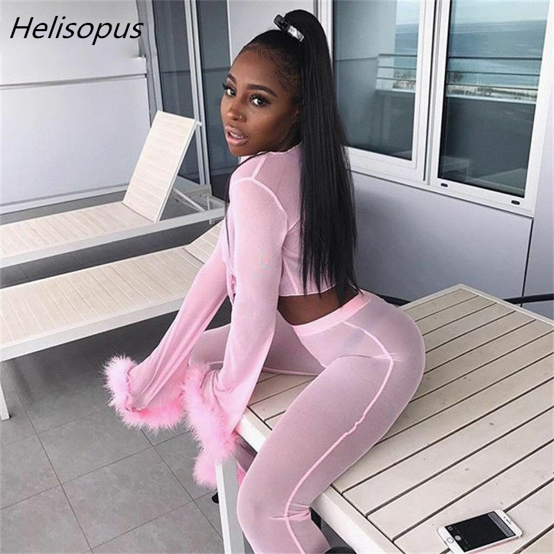 Helisopus Sexy Mesh See Through Womens 2 Pieces Set 2019 Fluffy Crop Top And High Waist Wide Leg Pants Women Tracksuit