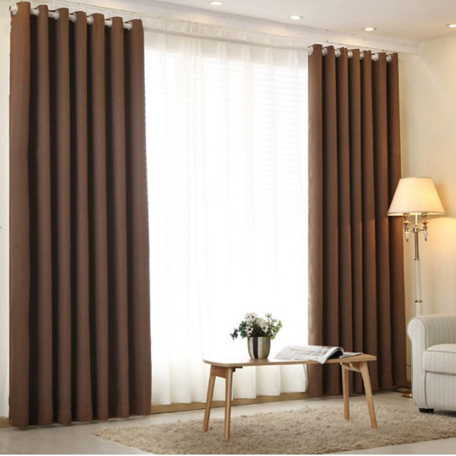 Curtains For Living Room Decorations Modern Twill Blackout Linen ...